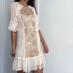 NWT BCBG Maxazria Metallic Floral Sequin Dress